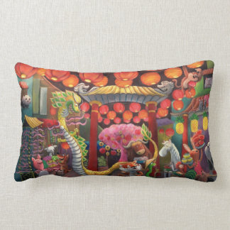 Animals in China Town Pillow