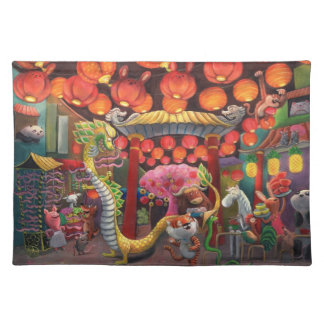 Animals in China Town Place Mats