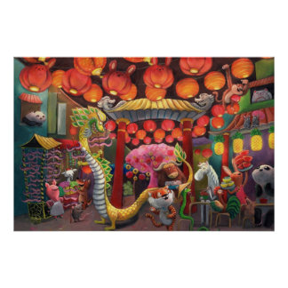 Animals in China Town Poster