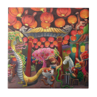 Animals in China Town Tiles