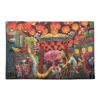 Animals in China Town Travel Accessory Bags