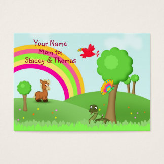 Animals in Colourful Fields Mommy Calling Card