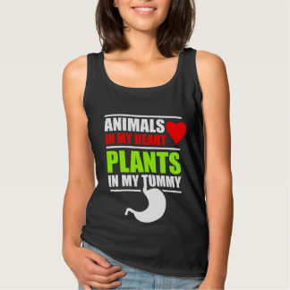 Animals in My Heart, Plants in My Tummy - Dark Tank Top