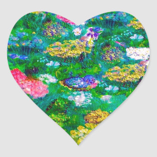 Animals in the Garden Designer Art Gift Collection Heart Sticker