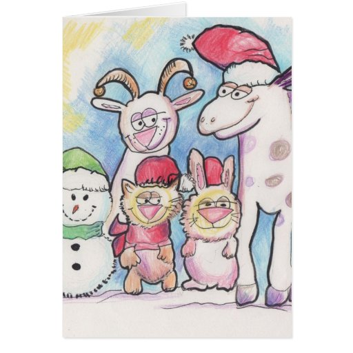 Animals in the snow wearing Christmas hats Greeting Card