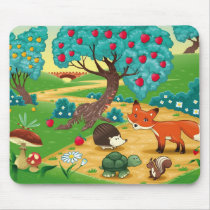 Animals in the wood. mouse pad