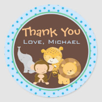 Animals Jungle Gift Favor Label Sticker Blue