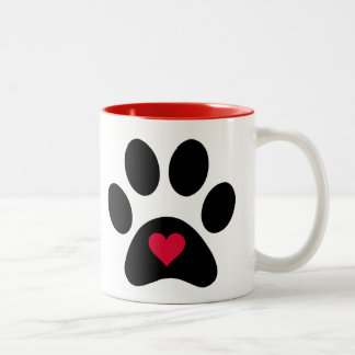 """""""Animals Leave Paw Prints On Our Hearts..."""" Two-Tone Coffee Mug"""