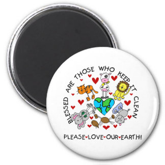 Animals Love Our Earth 2 Inch Round Magnet