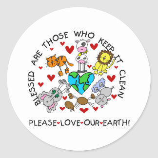 Animals Love Our Earth Classic Round Sticker