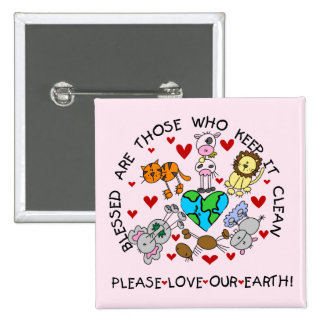 Animals Love Our Earth T-shirts and Gifts Pinback Button