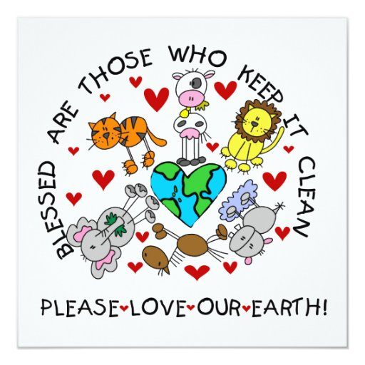 Animals Love the Earth T-shirts and GIfts 5.25x5.25 Square Paper Invitation Card