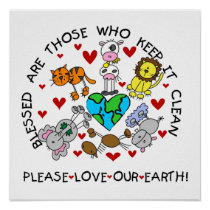 Animals Love the Earth T-shirts and GIfts Poster