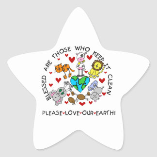 Animals Love the Earth T-shirts and GIfts Star Sticker
