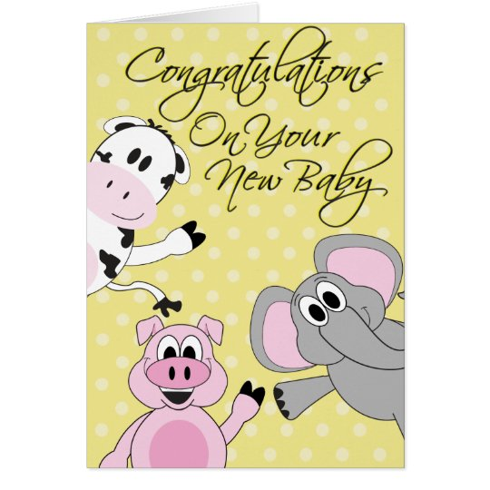 Animals - New Baby Greeting Card