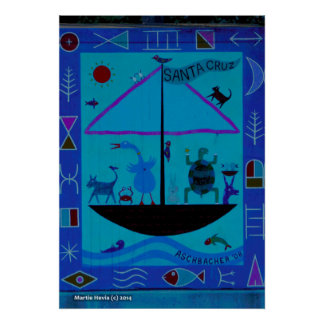 Animals on Boat Poster