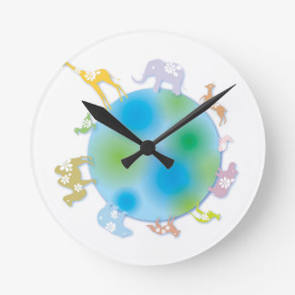 Animals on Globe Round Clock