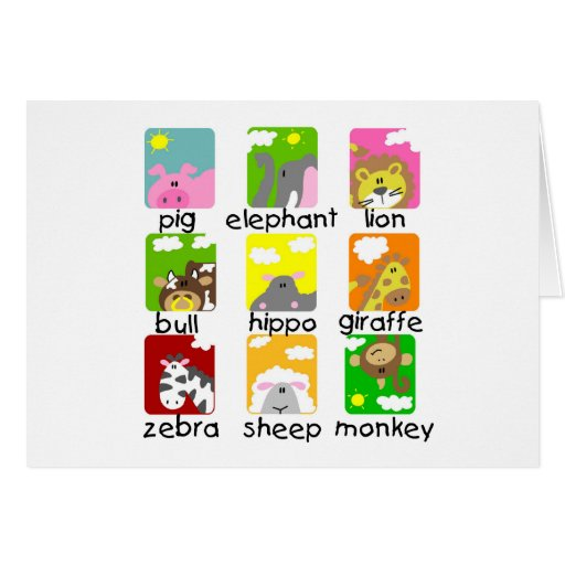 Animals on Parade Tshirts and Gifts Greeting Card