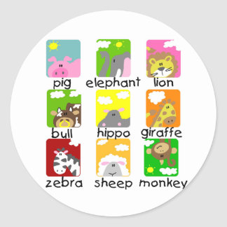 Animals on Parade Tshirts and Gifts Round Sticker