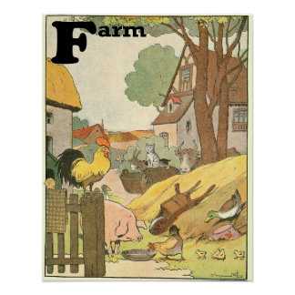 Animals on the Farm Alphabet Story Book Poster
