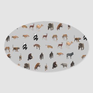 Animals Oval Sticker