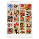 animals plants sheet music letters art collage card