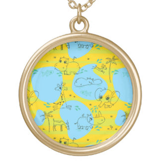 Animals playing baby pattern background gold plated necklace