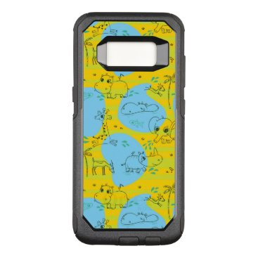 Beach Themed Animals playing baby pattern background OtterBox commuter samsung galaxy s8 case