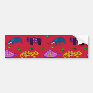 Animals - Purple Turtles & Blue Elephants Bumper Sticker