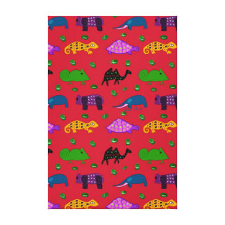 Animals - Purple Turtles & Blue Elephants Stretched Canvas Print