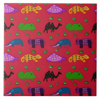 Animals - Purple Turtles & Blue Elephants Ceramic Tile