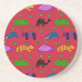 Animals - Purple Turtles & Blue Elephants Beverage Coasters