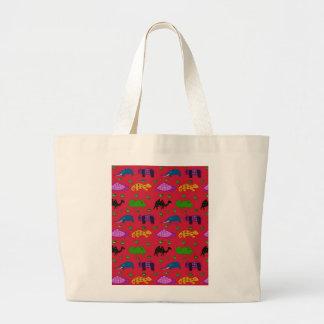 Animals - Purple Turtles & Blue Elephants Large Tote Bag