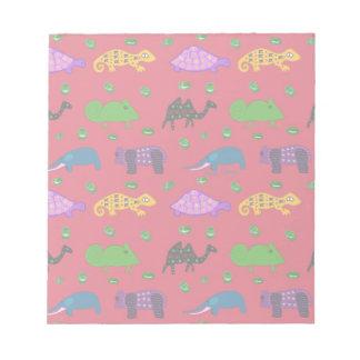 Animals - Purple Turtles & Blue Elephants Memo Notepad