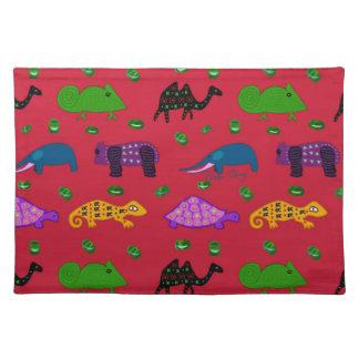 Animals - Purple Turtles & Blue Elephants Cloth Place Mat