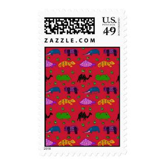 Animals - Purple Turtles & Blue Elephants Postage Stamp