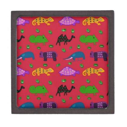 Animals - Purple Turtles & Blue Elephants Premium Keepsake Boxes