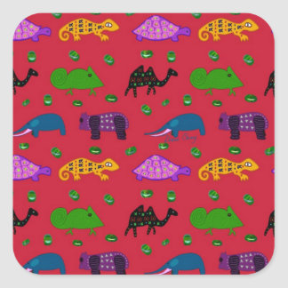 Animals - Purple Turtles & Blue Elephants Square Sticker