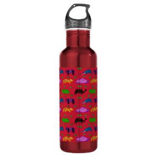 Animals - Purple Turtles & Blue Elephants Water Bottle