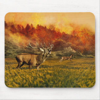 Animals Running away from Fire Illustration Mouse Pad