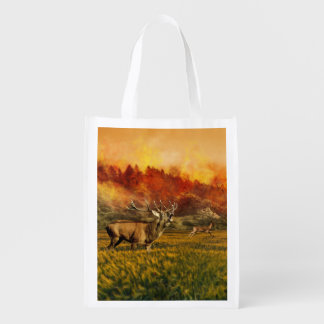 Animals Running away from Fire Illustration Reusable Grocery Bags