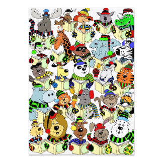 Animals singing Christmas carols Card