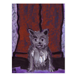 Animals (small dog big feet) postcard