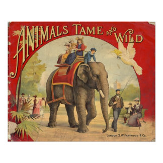 Animals Tame & Wild Vintage Circus Poster