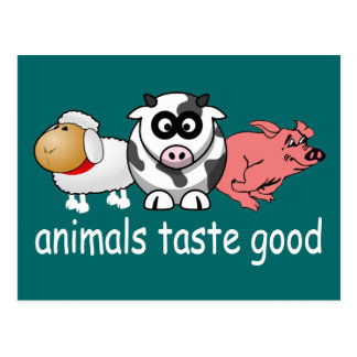 Animals Taste Good - Changeable Background Color Postcard