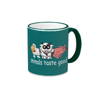 Animals Taste Good - Changeable Background Color Ringer Coffee Mug