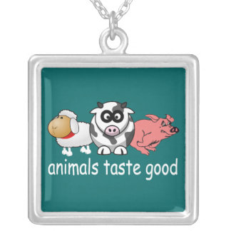Animals Taste Good - Changeable Background Color Square Pendant Necklace