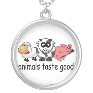Animals Taste Good - Funny Meat Eaters Design Round Pendant Necklace