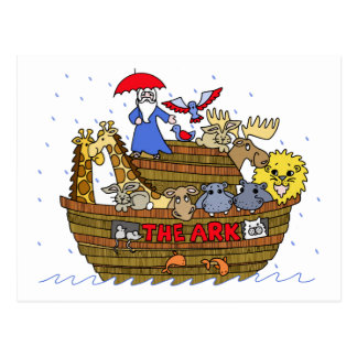Animals Two by Two on Noah's Ark Postcard