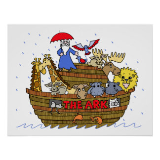 Animals Two by Two on Noah's Ark Poster